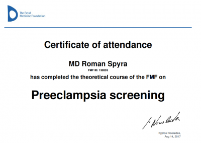 "certyfikat ""Preeclampsia screening"""