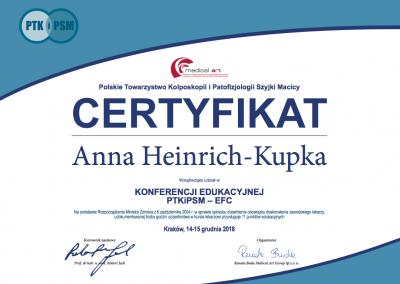 certyfikat Anna Heinrich_Kupka