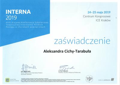 certyfikat Aleksandra Cichy-Tarabuła