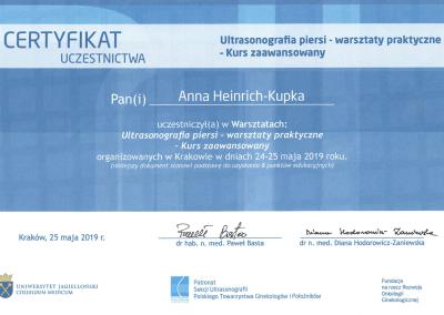 certyfikat Anna Heinrich-Kupka